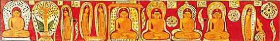 small figures of buddhas and disciples on a red background